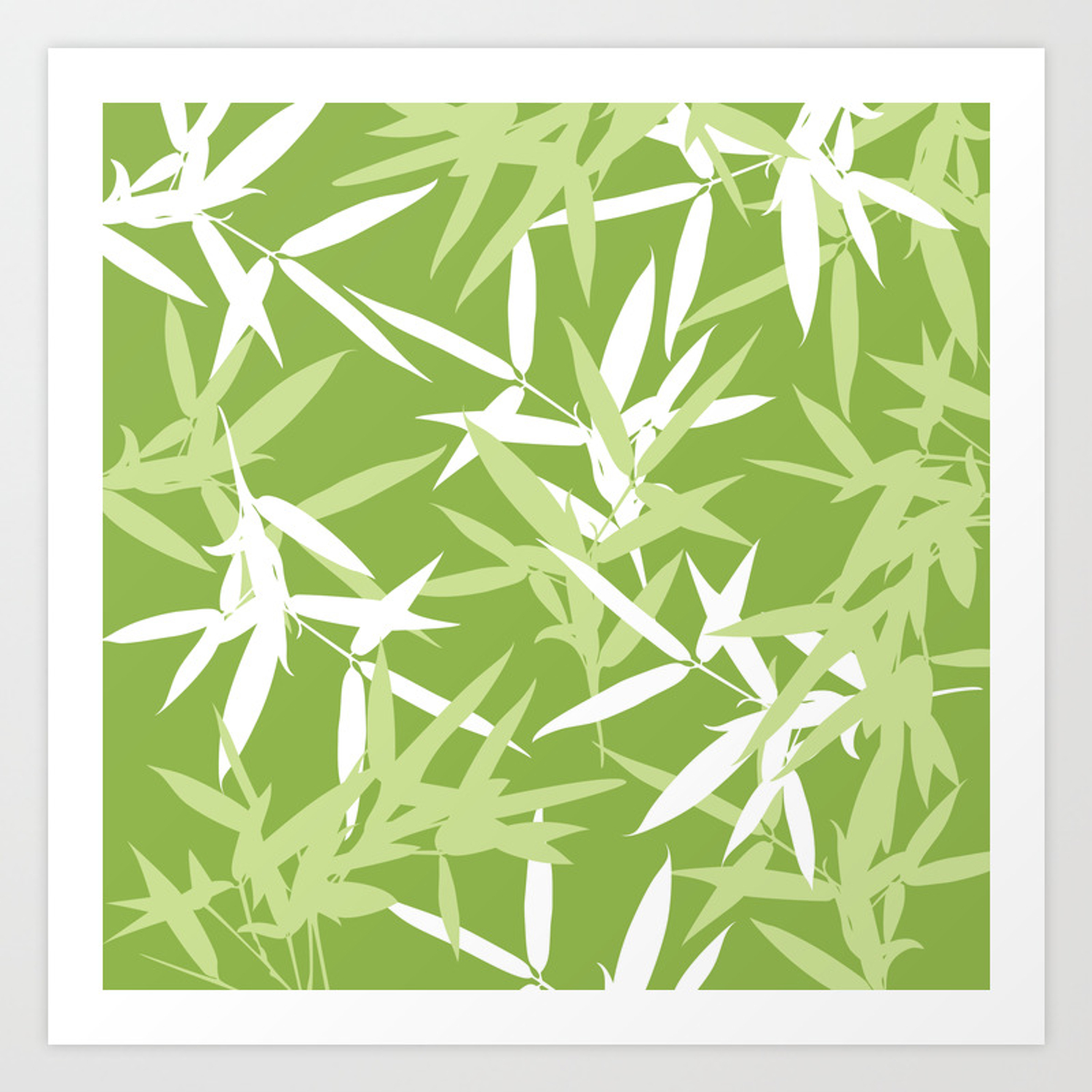 Green Bamboo Leaves Unique Pattern Art Print By Oursunnycdays Society6