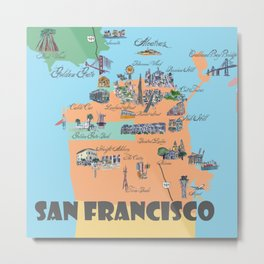 San Francisco Fine Art Print Retro Vintage Favorite Map with Touristic Highlights Active Metal Print