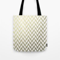 gold foil Tote Bags featuring Gold Foil Chevron by Zen and Chic