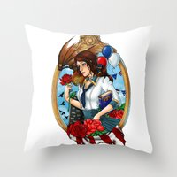 bioshock Throw Pillows featuring BioShock Infinite by Little Lost Forest