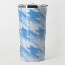 Blue Monochrome Houndstooths Travel Mug