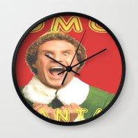 will ferrell Wall Clocks featuring OMG SANTA! / Elf by Earl of Grey