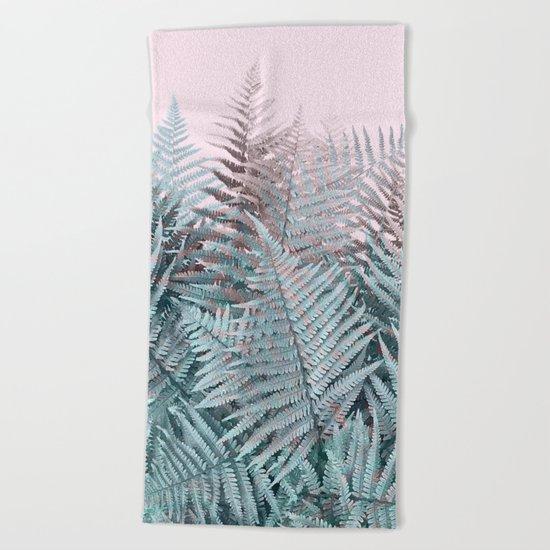 Duotone Fern Jungle on Soft Pink Beach Towel