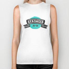 Stronger Every Day (dumbbell) Biker Tank