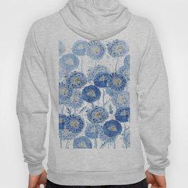blue indigo dandelion pattern watercolor Hoody