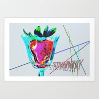 strawberry Art Prints featuring Strawberry by LoRo  Art & Pictures