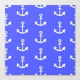 Anchors - Dark Blue Canvas Print