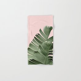 Banana leaf, Plant, Green and Pink , Minimal, Trendy decor 01 Hand & Bath Towel