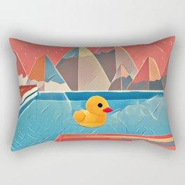 Little duck in the pool Rectangular Pillow