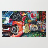 pugs Area & Throw Rugs featuring Pugs and fruits by oxana zaika