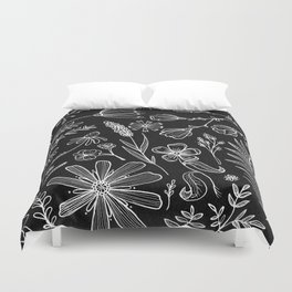 Floral Pattern II Black and White Duvet Cover