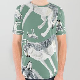 Totem Alberta Wolf All Over Graphic Tee