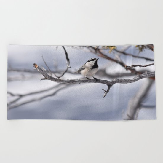 Winter Chickadee Beach Towel