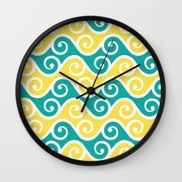 Aqua and Yellow Wavy Ripple Pattern Pantone 2021 Color Of The Year Illuminating 13-0647 Wall Clock