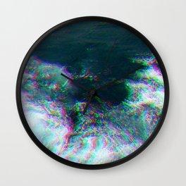 Oceanic Glitches - Deep Green Wall Clock