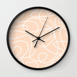 Doodle Line Art | White Lines on Peach/Apricot Wall Clock