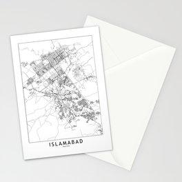 Islamabad White Map Stationery Cards