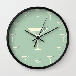 Shaken not Stirred Martini Seamless Pattern Wall Clock