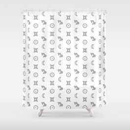 Gemini/Capricorn + Sun/Moon Zodiac Glyphs Shower Curtain