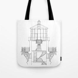 Cape Hatteras Lighthouse Lantern Room Blueprint Tote Bag