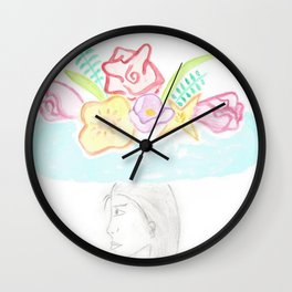 A Lady in Flower Hat Wall Clock