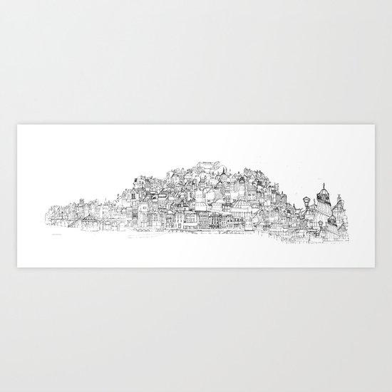 Panoramic Drawing of Brighton Art Print
