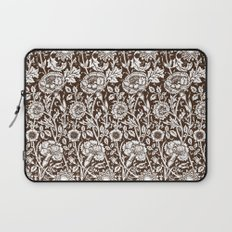 "William Morris Floral Pattern | ""Pink and Rose"" in Chocolate Brown and White Laptop Sleeve"