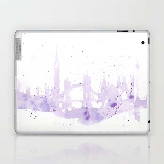 Watercolor landscape illustration_London Laptop & iPad Skin