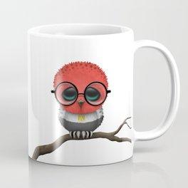 Baby Owl with Glasses and Egyptian Flag Coffee Mug