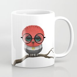 Baby Owl with Glasses and Egyptian Flag Coffee Mug