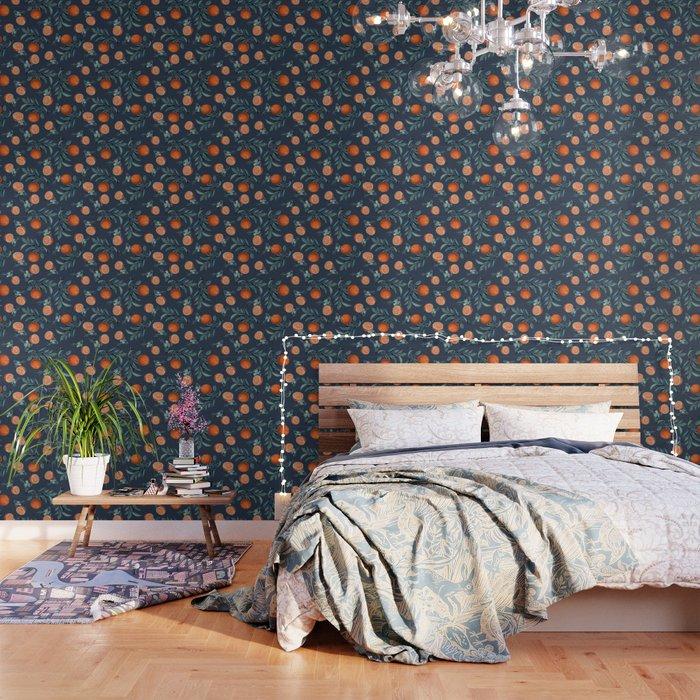 Lemon and Leaf Pattern VI Wallpaper