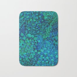 Peacock Watercolor Painting Bath Mat