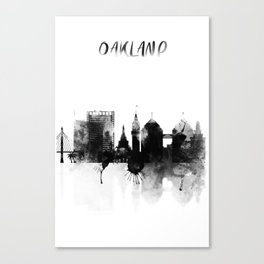 Oakland Black and White Skyline poster Canvas Print