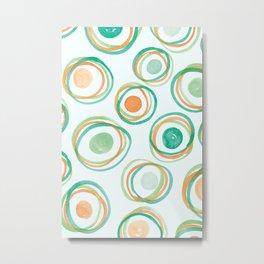 Watercolour Circles #2   Orange and Green Palette Metal Print