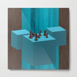 3D Chess Pieces Didital Art Metal Print