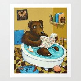 Bookish Bear Bathing Art Print