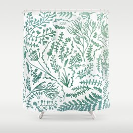 GREEN HERBS Shower Curtain