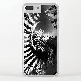 Fossil Ammonite B&W Clear iPhone Case