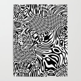 Black  and white psychedelic optical illusion Poster