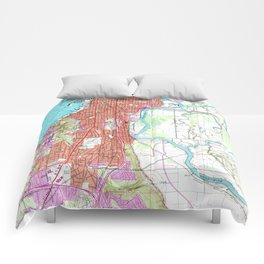 Vintage Map of Everett Washington (1953) Comforters