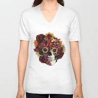 ohm V-neck T-shirts featuring Full circle...Floral ohm skull by Kristy Patterson Design