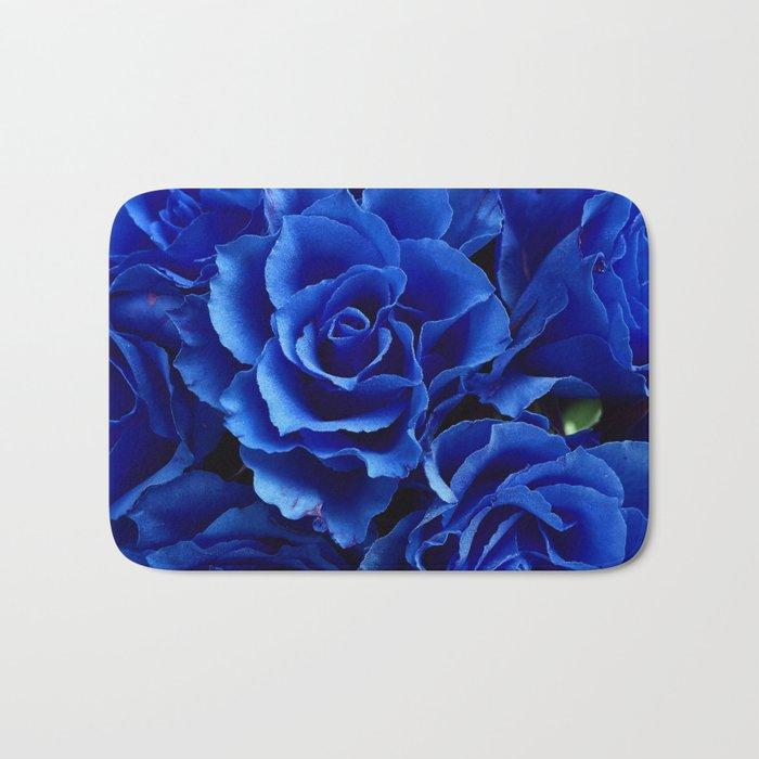 Blue Roses Flowers Plant Romance Bath Mat