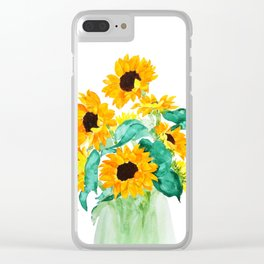 sunflower in green vase watercolor Clear iPhone Case