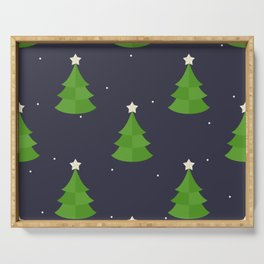 Green Christmas Tree Pattern Serving Tray