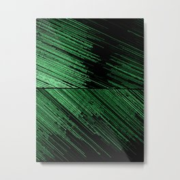 Line art - the Scratch, green lines on black canvas pattern, geometric artwork, asymetric stripes Metal Print