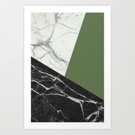 Black and White Marble with Pantone Kale Art Print