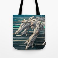 android Tote Bags featuring android anteater by Kingu Omega