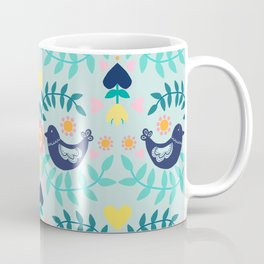 Folky Pattern Light Blue Coffee Mug