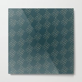 Petrol checkered pattern Metal Print