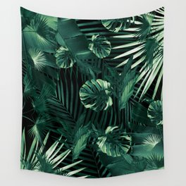 Tropical Jungle Leaves Night Siesta #1 #tropical #decor #art #society6 Wall Tapestry